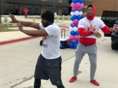 Mathew and Jarrid warming up for the race with Zumba dance.